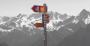 Pure MTB mountain bike sign waymark Switzerland